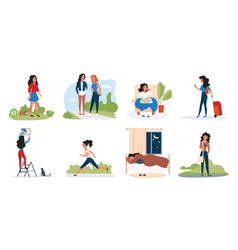 Girl in daily activity set cartoon young woman vector