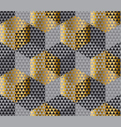 Gold and black geometry hexagon seamless fabric vector