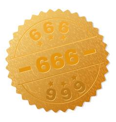 golden 666 medal stamp vector image
