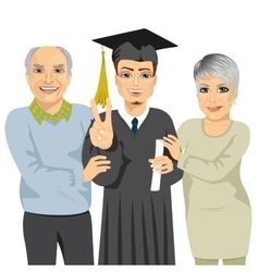 Grandparents proud grandson holding diploma vector