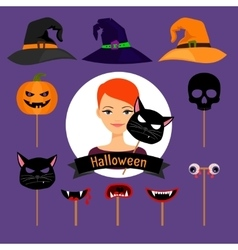 Halloween party fashion girl items vector