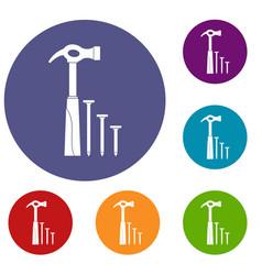 hammer and nails icons set vector image