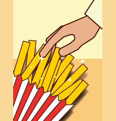 Hand with french fries menu restaurant vector
