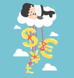 Happy Businessman on a Cloud thinking money vector