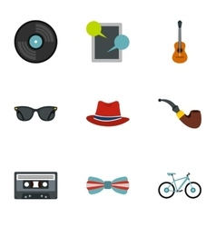 Hippie icons set flat style vector