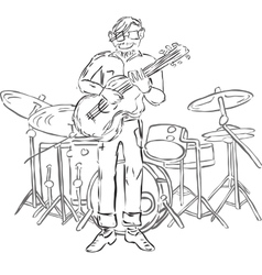 Hipster playing guitar vector