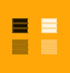 horizontal stack of books set icon vector image