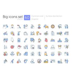 hospital blue rgb color icons set vector image