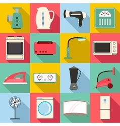 Household appliances icons set flat style vector image