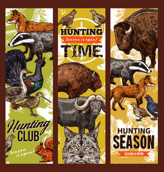 hunting time birds and animals vector image