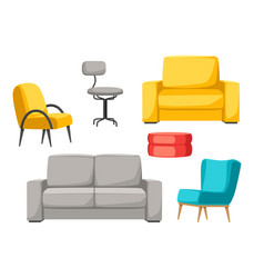Interior and furniture set sofa armchair and pouf vector