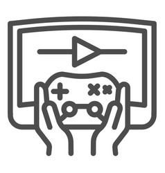 Joystick in hands line icon joypad in arms and vector