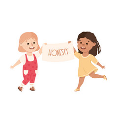 Kind and fair little girls holding placard with vector