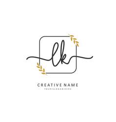 L k lk initial letter handwriting and signature vector
