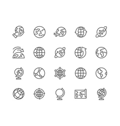 Line Globe Icons vector image