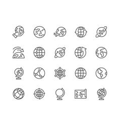 Line Globe Icons vector