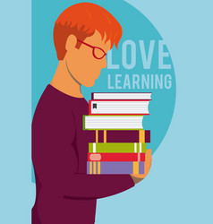 love learning cartoon design vector image