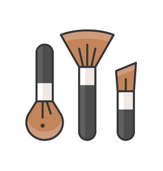 Makeup brush cosmetic outline icon vector