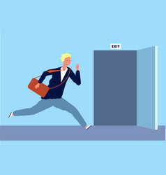 Male run to exit businessman fast moving to vector