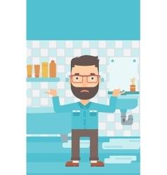 Man in despair standing near leaking sink vector