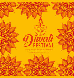 Mandalas flowers and candles to diwali light vector
