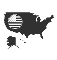 map usa and round flag in black color stock vector image