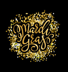 mardi gras gold glitter calligraphy vector image