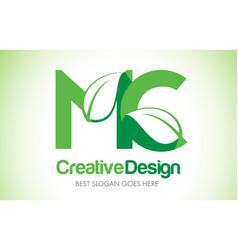 Mc green leaf letter design logo eco bio leaf vector