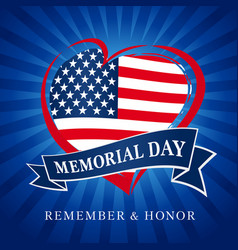 memorial day usa heart emblem blue beams vector image