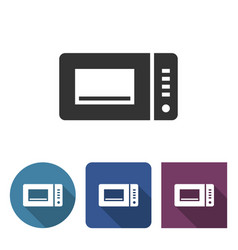 microwave icon in different variants with long vector image