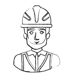 Monochrome blurred contour with half body of male vector