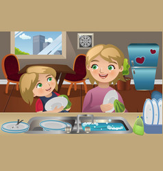 Mother daughter washing dishes vector