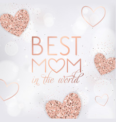 mothers day banner template with golden hearts vector image