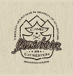 mountain camp emblem for t shirt vector image