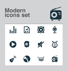 Multimedia icons set with mike file silence and vector