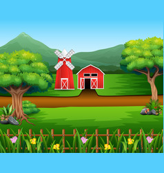 Nature landscape with shed and windmill vector