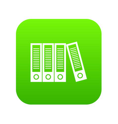 Office folders icon digital green vector
