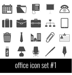 office icon set 1 gray icons on white background vector image