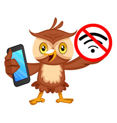 Owl with no wifi signal on white background vector