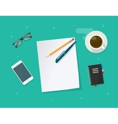 Paper sheet with pencil pen on workdesk vector