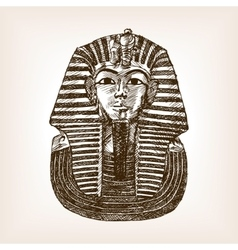 Pharaoh sarcophagus sketch vector