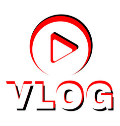 Play vlog logo flat style vector