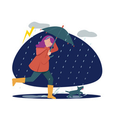 rainy walking with dog girl with umbrella in vector image