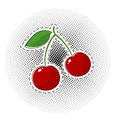 Red cherry sticker on pop art background vector