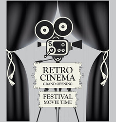 retro cinema poster with camera and black curtains vector image
