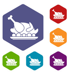 roasted turkey icons set vector image