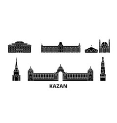 Russia kazan flat travel skyline set russia vector