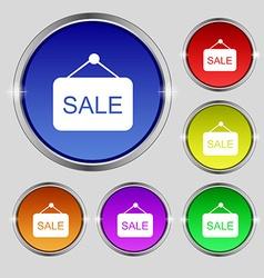 Sale icon sign Round symbol on bright colourful vector