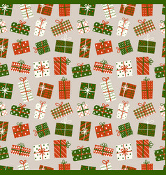 seamless background with christmas gift boxes can vector image
