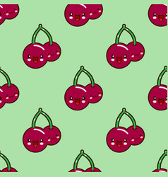 seamless pattern red cherry kawaii funny face with vector image